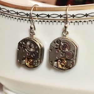 Steampunk sterling silver earrings